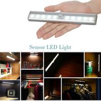 Wholesale 10 LEDs SMD3528 Under Cabinet Light PIR Montion Sensor Wardrobe Light Powered by AAA Batteries Wireless Light White Warm White