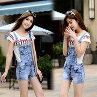 bib twill shorts - summer new women jeans elastic suspenders denim shorts Bib Jumpsuits Rompers jeans overalls Women brand design girl style