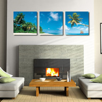 beach scene prints - Home decoration unframed Pieces Canvas Prints Seaside scenery coconut tree sandy beach Abstract flowers natural scene crane