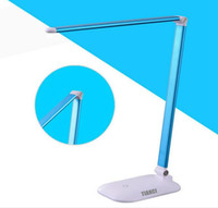 Wholesale LED Desk Lamp Eye care Folding Table Lamps Memory Function Level Dimmer W Touch Sensitive Control Reading Lamps Bedroom Lamps