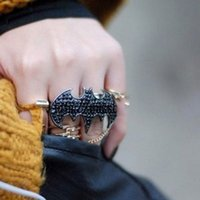 bats factory direct - 197 European and American jewelry retro punk exaggerated black bat full of diamond ultra bicyclic ring factory direct y