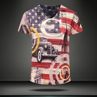 american flag car - Brand fashion harajuku style Clothing Mens t shirts American flag and Car printing d T shirt justcavali Tee mt145