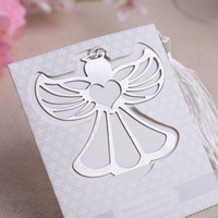 Wholesale 10pcs Angel Blessings Bookmarker with white Tassels Bookmark Student Gift Wedding Favors Bookmarks Party Christmas New