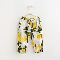 Cheap 2016 Baby Girls Elastic Waist Print Fruit Lemon Casual Pants with Pockets Loose Children Trousers Pants