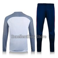 Wholesale Thailand quality new season PSG white with long sleeve match blue pant sweater tracksuit set soccer training suit