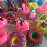 venda por atacado inflatable pool toys-Flamingos Donut melancia limão Pineapple inflável copo Holder Bottle flutuante bela piscina Toy Bath Por Beach Party