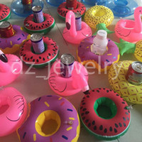 All people Sandbeach All people Flamingos Donut Watermelon Lemon Pineapple Inflatable Drink Cup Holder Bottle Holder Floating Lovely Pool Bath Toy For Beach Party