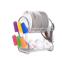 Wholesale XIANGJUN kitchen drain and storage racks double dish rack dripping put dishes shelf