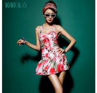 Cheap Sexy Plus Size Swimwear Skirt,One Piece Boxer Type Swim Suit Dress,Korean Style Print Bathing Suits for Women