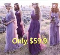 amazing color - Amazing Cheap Convertible Bridesmaid Dresses Multi Wear Long Tulle Purple Lavender Beach Boho Maid of Honor Wedding Guest Party Gowns