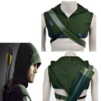 Wholesale Hot Movie Green Arrow Oliver Queen Cosplay Hat Cos Costume Accessories Quiver For Halloween Party