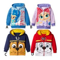 Wholesale DHL New Autumn Boys girls Ryder Patrol Dog Shimmer shine Hoodies Sweatshirts styles children princess Long sleeve Hoodied jacket