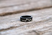 Wholesale Handmade Lovers Heartbeat Ring Original wood Ring mosaic silver Ring