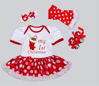 Wholesale Christmas New Arrival Baby Girls Cartoon Letter Pattern Cotton Suit Dress Four piece Colors Y