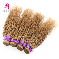 achat en gros de armure de couleur afro frisée-Indian Blond Kinky Curly Weave 3 Bundles Extensions de cheveux Indian Hair Products Couleur Blonde Kinky Curly Afro Hair Fasting Livraison