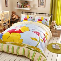 Wholesale Cartoon PC set Winnie the pooh Children s Queen bedding set cotton kids boys bedspread