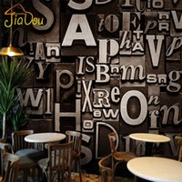alphabet wall paper - Retro Fashion D Stereoscopic English Alphabet Personalized Wallpaper Roll Living Room Bar Cafe Studio Backdrop Wall Covering