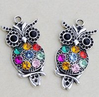 Charms antique owl jewelry - 2016 hot Antique Silver Plated Colorful Rhinestone Crystal Owl Animal Charms Pendants x47mm L1598 Jewelry Findings Components