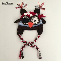 Unisex Winter Crochet Hats Super Cool Pirate Owl Hat,Handmade Knit Crochet Baby Boy Girl Novelty Animal Hat,Kids Earflap Funny Hat,Halloween Costume,Infant Photo Prop