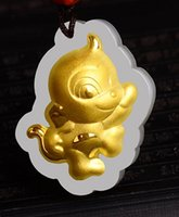 Cheap Gold inlaid jade Chinese zodiac cartoon monkey talisman necklace and pendant