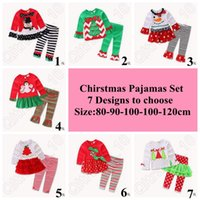 Wholesale 7 Designs set Christmas Pajamas Long Sleeve Pyjamas Kids Striped Pajamas Kids Nightwear Set Xmas Pajamas Baby Sleepwear LJJC5169 set