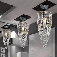 ceiling chandeliers - LED light Chrome K9 Modern crystal chandelier lighting D17 H45cm V V Transparent color Crystal Ceiling Light For Living Room
