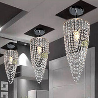 Wholesale LED light Chrome Modern crystal chandelier lighting D17 H45cm V V Transparent color Crystal Ceiling Light For Living Room