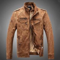 Wholesale 2016 US Style Motocycle Biker leather Jacket Winter fleece warm jackets Punk boy pocket Faux Leather Outerwear