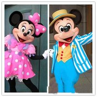al por mayor la mascota del ratón de color rosa-2016 a estrenar Traje adulto de la mascota de Mickey Mouse de la historieta Traje de la mascota de Minnie de la mascota de Minnie de la mascota de Mickey