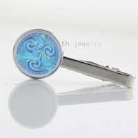Wholesale Elegant design Triskele Art picture Glass Cabochon keepsake tie pin Men s Accessories Tie Bar NS564