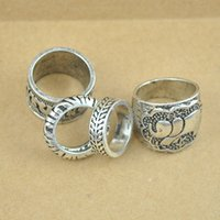 Wholesale 1 set Gypsy retro Boho carved pattens finger ring elephant antique silver plated unique design pc each design styles hand jewelry0