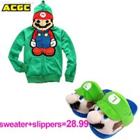 Wholesale Unisex Cute Super Mario Bro Cosplay Costume and Plush Slippers set Hoodie Stylish Outwear Warm Funny Jacket lovers Coat
