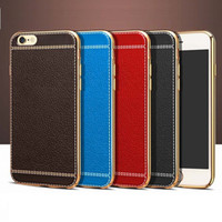 Wholesale New luxury electroplating TPU case for apple iphone S plus PU leather case slim design with retail package