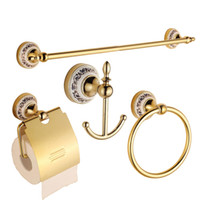 Wholesale Blue and White Golden House Bathroom Hardware Bath Decorative Accessories Sets With Towel Bar Ring Hooks