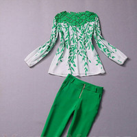 Wholesale new arrival Women s Fashion green leaves printted clothing Pants suit summer