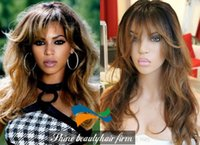 beyonce light hair - Glueless Ombre Silk Top Full Lace Wigs With Bangs B Density Human Hair Lace Front Wigs Beyonce Hairstyle Wigs on Sale
