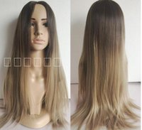 Wholesale 2016 New Fashion Brown Blonde Peruca Ombre Wig Synthetic Hair Long Wigs Top Quality Long Natural straight Hair wig