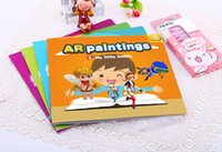 Wholesale AR Paintings Augmented Reality kids D drawing books Ar color up painting book Learning and Education Toys book and box paintbrush A017