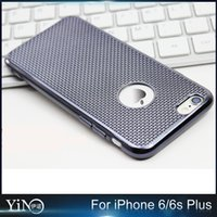apple grid - Unique Design Grid Cell Phone Case Dissipate Heat Electroplate Plating Grid TPU Cover Protect Shell For IPhone s Plus MOQ