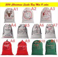 Wholesale 50 cm Large Christmas Canvas Santa Sack Felt Bag Drawstring Merry Christmas Gift Bags Indoor Christmas Decoration Supplies