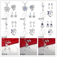 Wholesale Wedding women s gemstone sterling silver jewelry sets sets Multi Styles DFMSS37 animal carving silver Necklace Anklet Earring Ring set