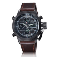 alarm clock auto - Brand Sports Watches Black Dual Time Auto Date Alarm Leather Band LED Male Clock Analog Military Quartz Men Digital Watch