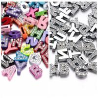 al por mayor deslizar las cartas encanto-Nuevos Arrvials al por mayor de 8 mm de tamaño A-Z Slide letras Rhinestone accesorios deslizantes DIY encantos para las pulseras cinturones de bricolaje