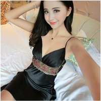Wholesale 2016 summer short sleeved silk suspenders sexy nightgown deep V neck dress silk pajamas sexy fashion pajamas