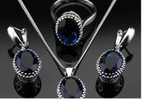 Wholesale Oval Blue Sapphire Jewelry Sets For Women Silver Necklace Pendant Earrings Rings Size Free Jewelry Box