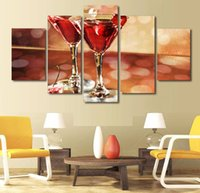 anime wall scrolls - 5 Panel HD Printed wine glasses cherry ice Painting Canvas Print room decor print poster picture canvas anime wall scroll