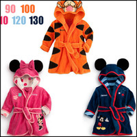 Wholesale New Autumn Winter Children Baby Coral Velvet Sleepwear Warm Pajamas Girls Boys Cartoon Hooded Night Clothes Infants Toddlers Kids Bed Gowns