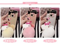 ball frames - Bling Crystal Jewelery Hello kitty Electroplated Mirror Case TPU Frame Diamond Mirror Cases Hellokitty Fur Ball Cover For iphone s Plus
