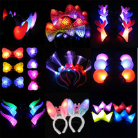 Wholesale Kids LED Light Luminous Mouse Bow knot Princess Crown Headdress Head Hair Hoop Band Vocal Concert Supplies Party Decoration Toy