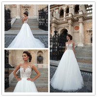 custom made jewelry - 2017 classic mira nova illusion dress applique jewelry unbacked sweep soft tulle skirt wedding dress train wedding dresses